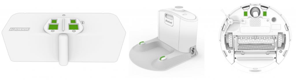 Hình ảnh mô phỏng các điểm tiếp xúc sạc của iRobot Roomba