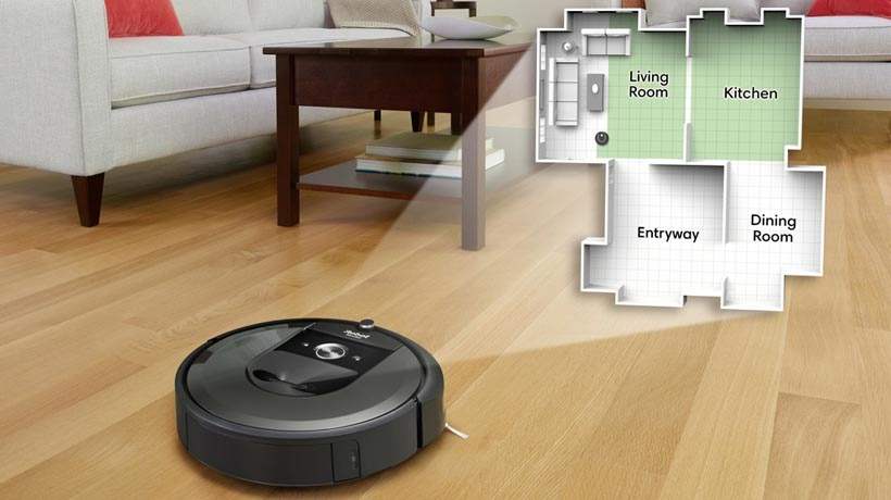 robot hút bụi Roomba ghi nhớ vị trí các phòng và di chuyển thông minh
